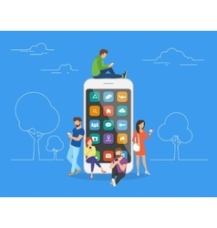 People with gadgets using smartphones outdoors vector image vector image