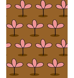 Pink plants on Brown background seamless patetrn vector image vector image