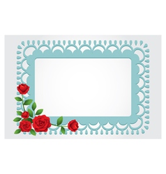 Red Roses Square Shape Frame and Border vector image vector image