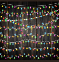 set of color garland lights glowing christmas vector image