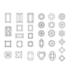 set of diamond design elements - cutting vector image
