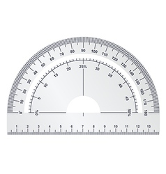Silver protractor on white background vector image vector image
