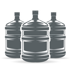 Water bottle three monochrome vector