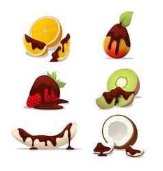 delicious fruits banana and orange in chocolate vector image