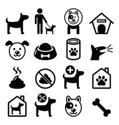 Dog pet icons set - vet dogs food dog hotel vector image vector image