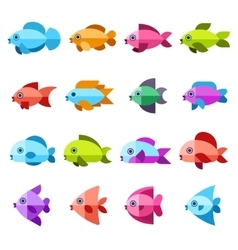Fish flat icons set vector image vector image