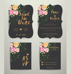 floral wedding invitation save the date card with vector image