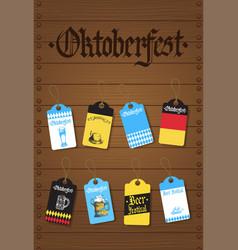 oktoberfest tags set german beer festival flyer vector image