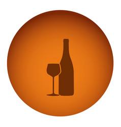 orange emblem wine bottle with glass icon vector image