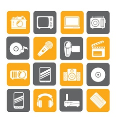 Silhouette Media and technology icons vector image
