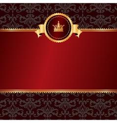Vintage red background with frame of golden vector image