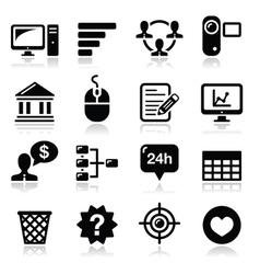 Website menu navigation black icons set vector image vector image