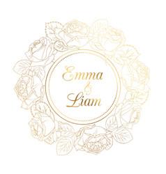 wedding invitation rose peony wreath golden shiny vector image vector image