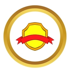 Gold shield with red ribbon icon vector