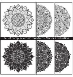 set of 6 hand-drawn mandala on white vector image vector image