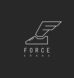 Shoes logo with wing in view letter F mockup vector image