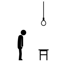 suicide by hanging with stick figure vector image