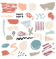 brush strokes and paint splatters set vector image
