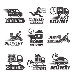 monochrome labels and icons for delivery service vector image