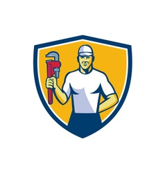 Plumber Holding Monkey Wrench Shield Retro vector image vector image