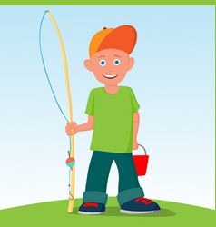 the little boy was going to fish summer active vector image vector image