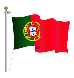 waving portugal flag isolated on a white vector image vector image