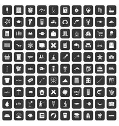 100 fish icons set black vector