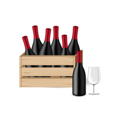 3d mock up realistic wine bottle glass and wooden vector image