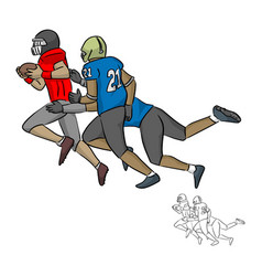 American football players tackling vector