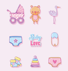 baby love cartoons collection vector image