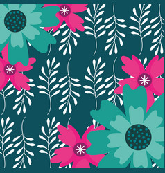 background flowers branches leaves floral vector image