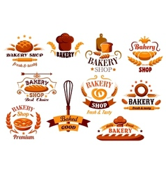 Bakery and bread symbols or banners vector image