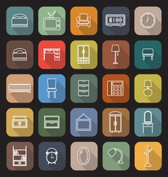 Bedroom line flat icons with long shadow vector image