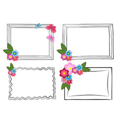 Black and white photo frames with colorful flowers vector