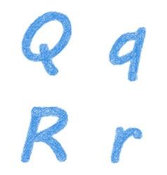 Blue sketch font set - letters q r vector