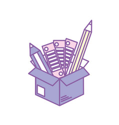 Box with pencils and palettes inside vector