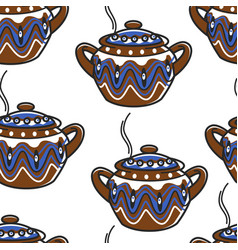 bulgarian pottery clay saucepan with ornament vector image