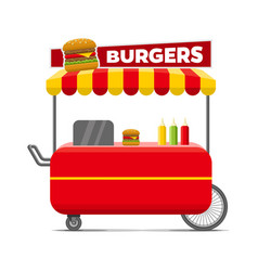burgers street food cart colorful image vector image