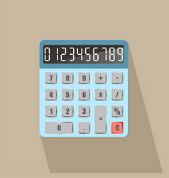 calculator with numbers long shadow vector image