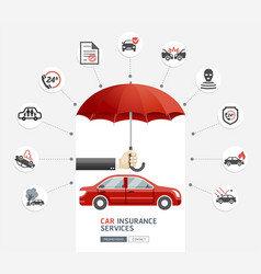 car insurance services business man hold umbrella vector image
