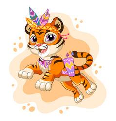 Cartoon character jumping tiger vector