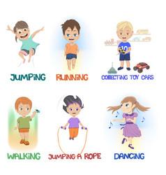 Cartoon children doing different fun activities vector