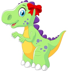 Cartoon female dinosaur isolated vector image