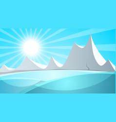 Cartoon snow landscape sun snow mountine vector