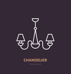 Chandelier flat line icon home lighting light vector