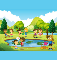 Children having fun in the park vector