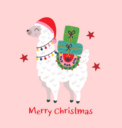 christmas card with cute llama vector image