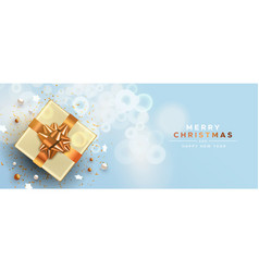 christmas new year copper top view gift box card vector image