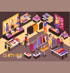 Clothing store isometric composition vector