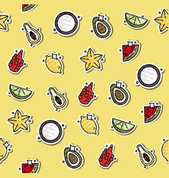 colored tropical fruit concept icons pattern vector image